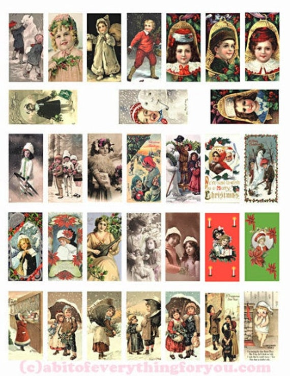 "domino collage sheet vintage children of christmas art clipart digital download graphics 1"" x 2"" inch images for pendants printables DIY"