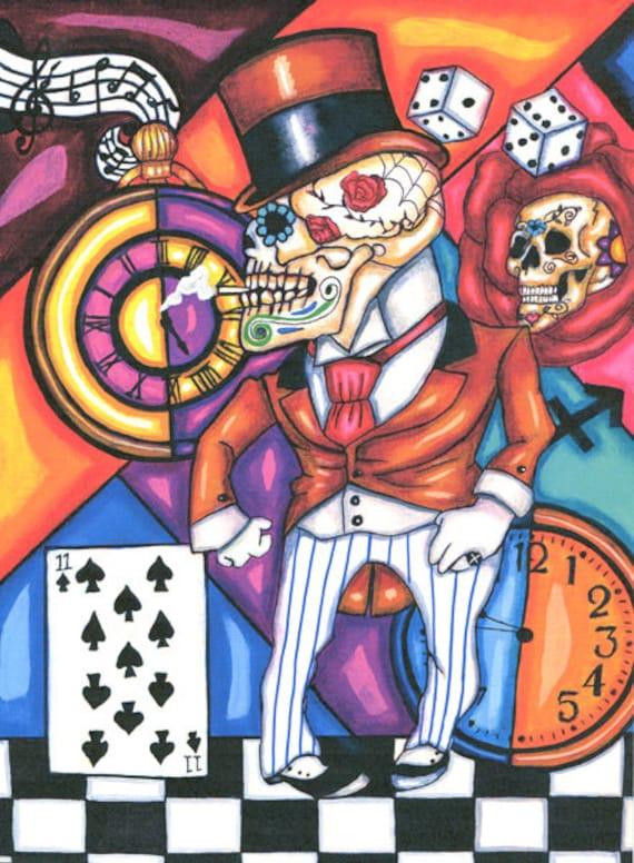 "Skeleton Man Mexican Folk art print Day Of The Dead original artwork skull Dia de los muertos original painting ""Smooth Operator"""