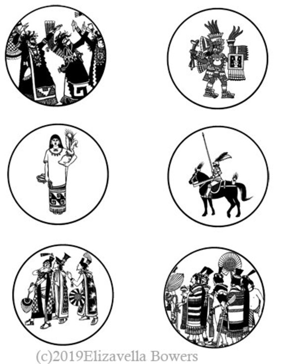 ancient Mexico Mexican art collage sheet 3 inch circles printables clipart digital download graphics images craft tags coaster