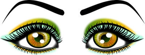 eyes with pink green and blue eyeshadow clip art png printable makeup art digital download 3 colors beauty image graphics