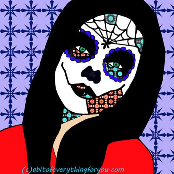day of the dead sugar skull girl purple cross printable art abstract print original skeleton digital download graphics images downloadable