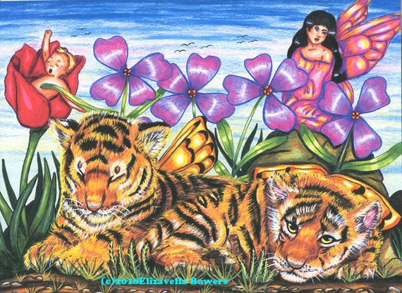 original art fairy baby tiger cubs print colored pencil drawing fantasy beasts flowers A Peaceful Day In Fairy Land