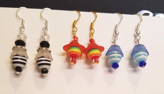 bead drop dangle earrings lot striped bead earrings flower earrings wholesale lot acrylic glass blue red black handmade jewelry lot