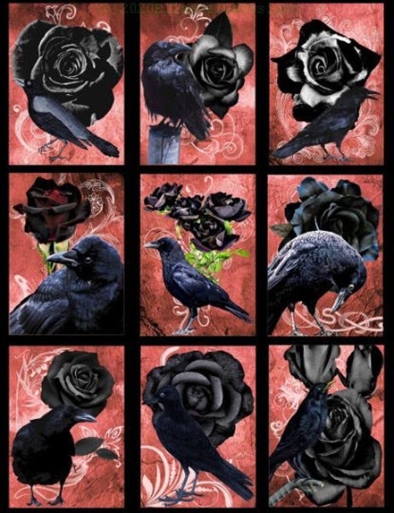 """black crow birds black roses goth collage sheet digital download 2.5"""" x 3.5"""" graphics downloadable images animal printables diy crafts aceo"""