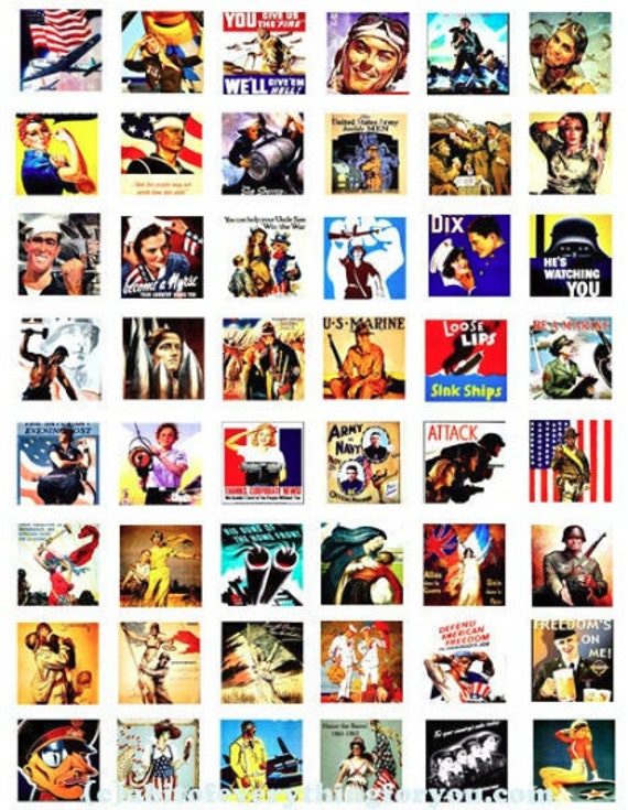 """vintage military war art posters clipart digital download collage sheet 1"""" inch squares graphic images printable diy jewelry making"""