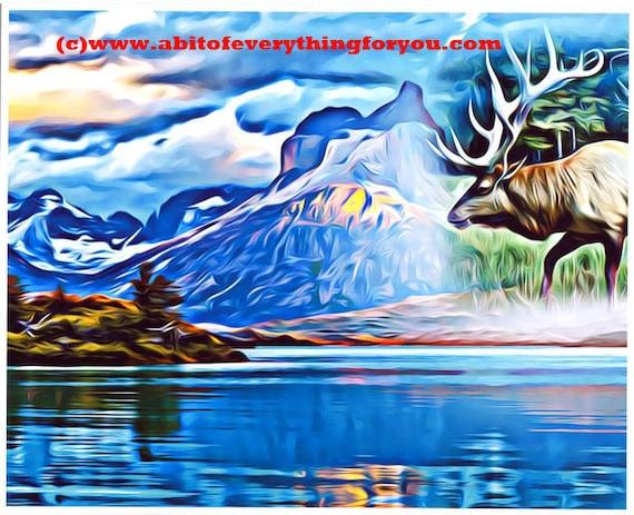 "abstract bull Elk animal spirit Art Print abstract landscape art abstract lake trees art surreal art nature wildlife artwork 8"" x 10"""