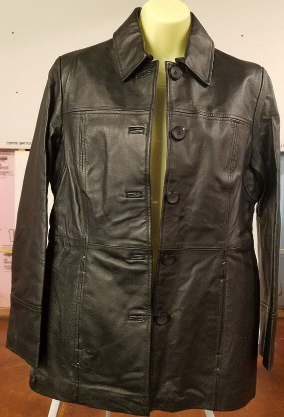 vintage black leather jacket Women's size small vintage 90s button down blazer style