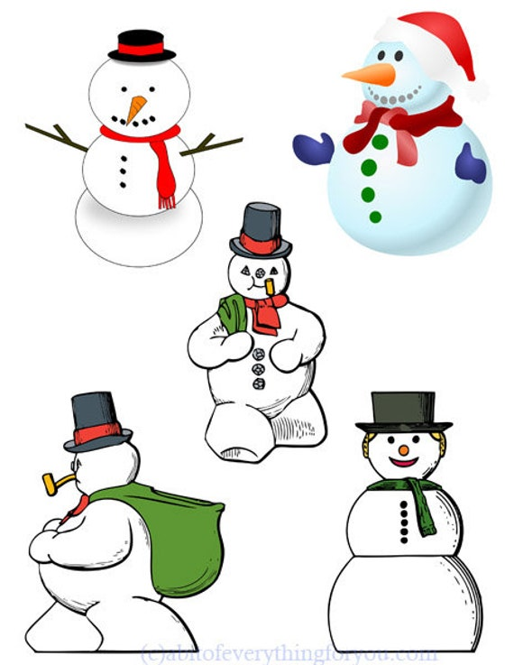 christmas snowman snowwoman die cuts clipart digital download craft printables collage sheet graphics downloadable images diy crafts