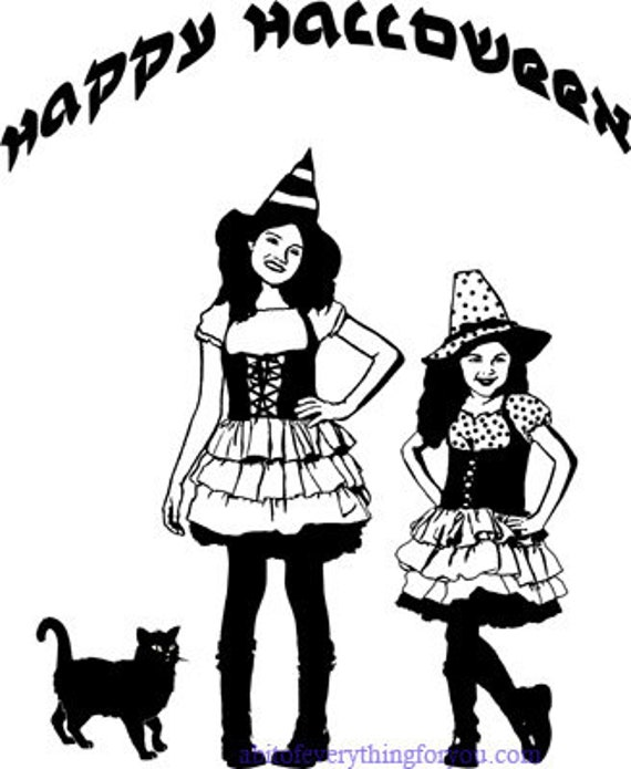 halloween witches little girls clipart png jpg printable art print Digital Download Image graphics digital stamp coloring page