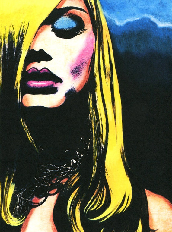 original art print tortured soul womans face original artwork, goth dark modern urban fashion art