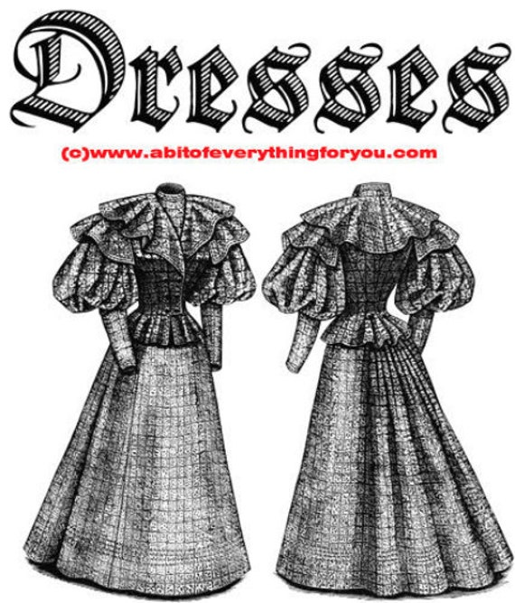1800s dresses fashion clipart png printable art download digital vintage image graphics black & white artwork