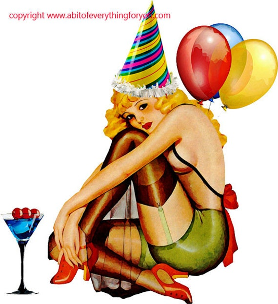 1930s blonde pinup party girl balloons clipart art png printable art print digital download image graphics party hat balloons
