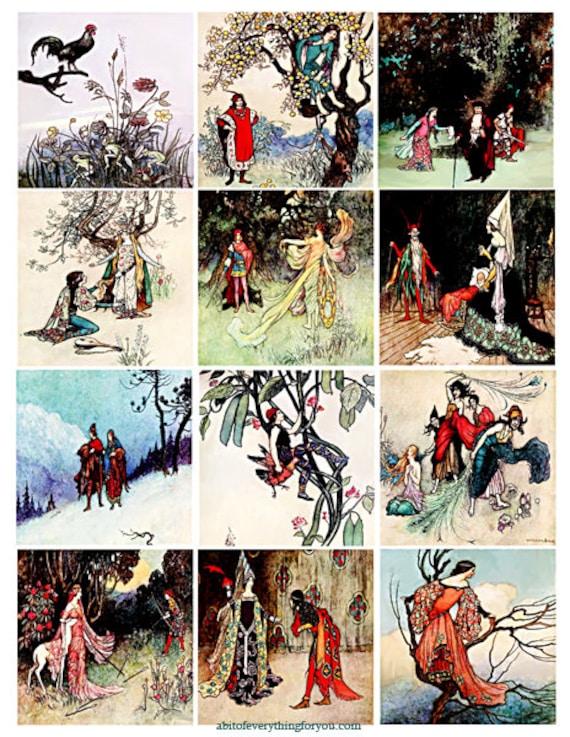"victorian vintage fairy tale collage sheet 2.6"" inch squares images clip art digital downloadable graphics images downloads"