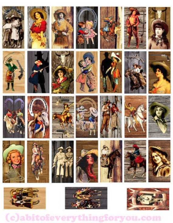 """domino collage sheet vintage cowboys cowgirls on wood art clipart digital downloadable 1"""" x 2"""" inch country western rodeo images printables"""