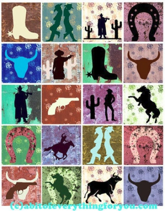 """cowboys cowgirls silhouette art collage sheet 2"""" squares clip art digital download graphics images country western rodeo art printables"""