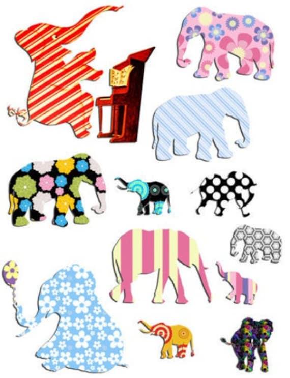 decopauge elephants png jpg printable art collage sheets digital download cartoon die cuts scrapbooking animals nursery kids bedroom images