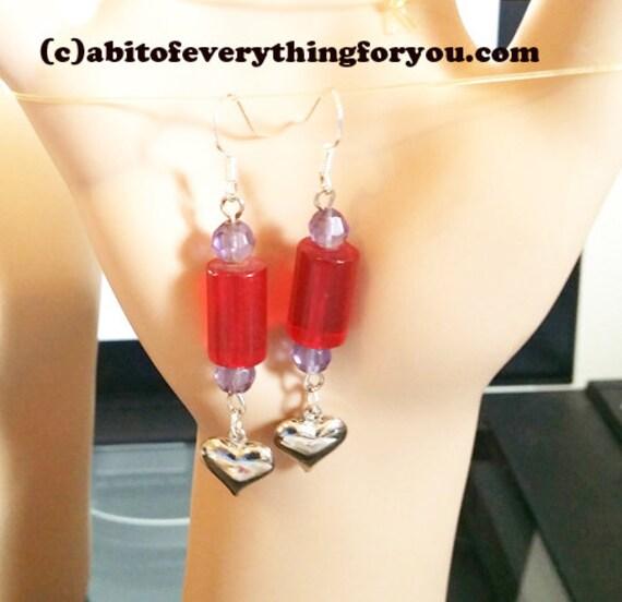 silver heart earrings long drop dangle beads red purple glass beaded handmade jewelry