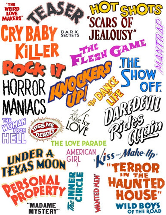 words phrases quotes from old movie posters text collage sheet clipart png jpg digital download cut outs die cut graphics images printables