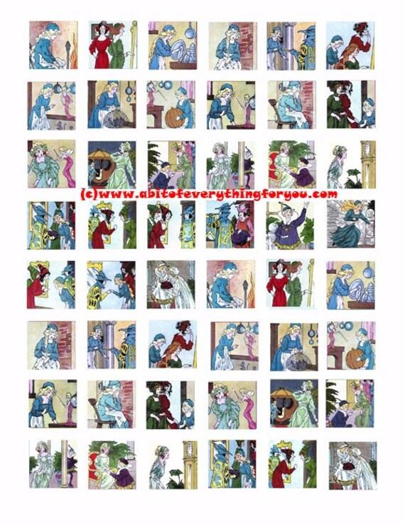 "vintage cinderella fairytale clipart digital download collage sheet 1"" inch squares images pendant pin magnet printables"