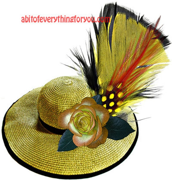 yellow straw hat feather rose flower fashion clipart png printable wall art download digital image downloadable graphics diy crafts