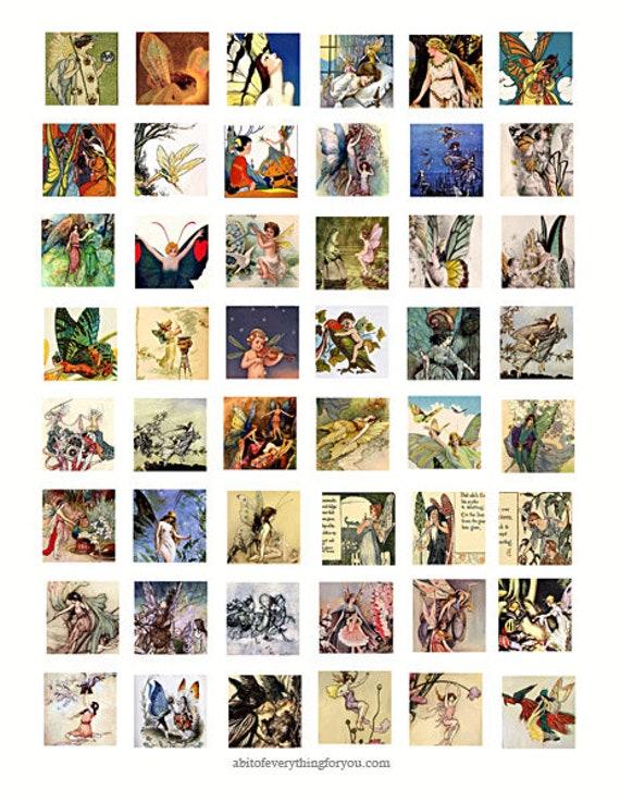 victorian vintage fairy fairies collage sheet 1 inch squares clip art digital downloadable graphics images magnet pendant printables