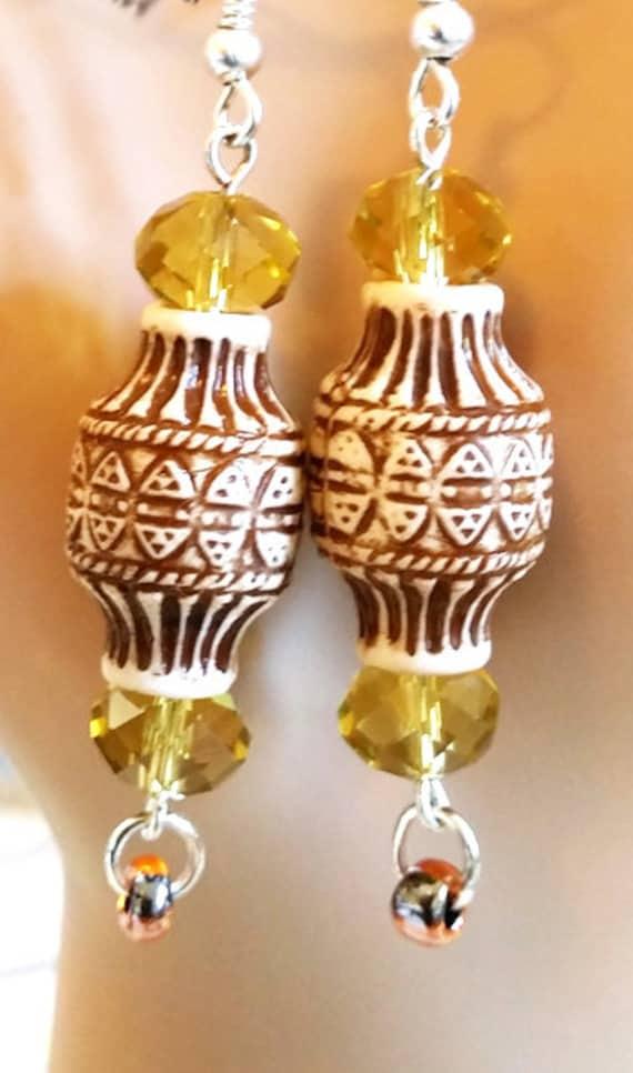brown big bead drop earrings long dangles glass crystal beads handmade bead boho jewelry