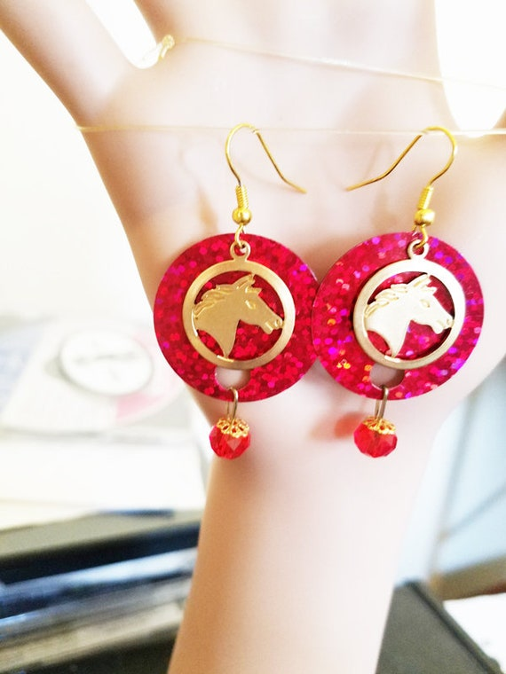 horse earrings gold earrings horse charms red earrings sequins glass bead drop dangles sparkly jewelry