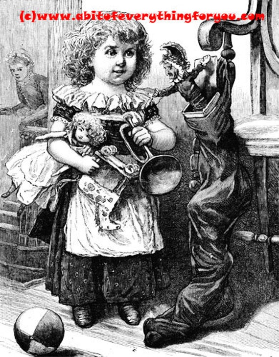 victorian girl abtique toys printable art print vintage illustration digital download image graphics instant downloads black and white art