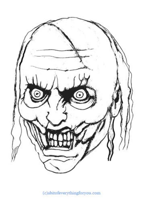original zombie ghoul art sketch coloring page printable monsters undead artwork
