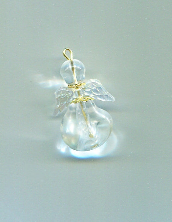 clear glass bead angel pendant charm bead drop handmade jewelry supplies