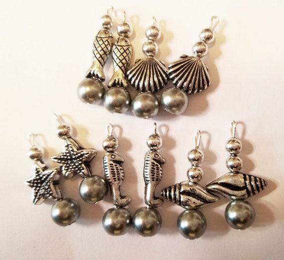 10 sealife animal bead drops pendant charm silver seahorse fish shell mixed lot