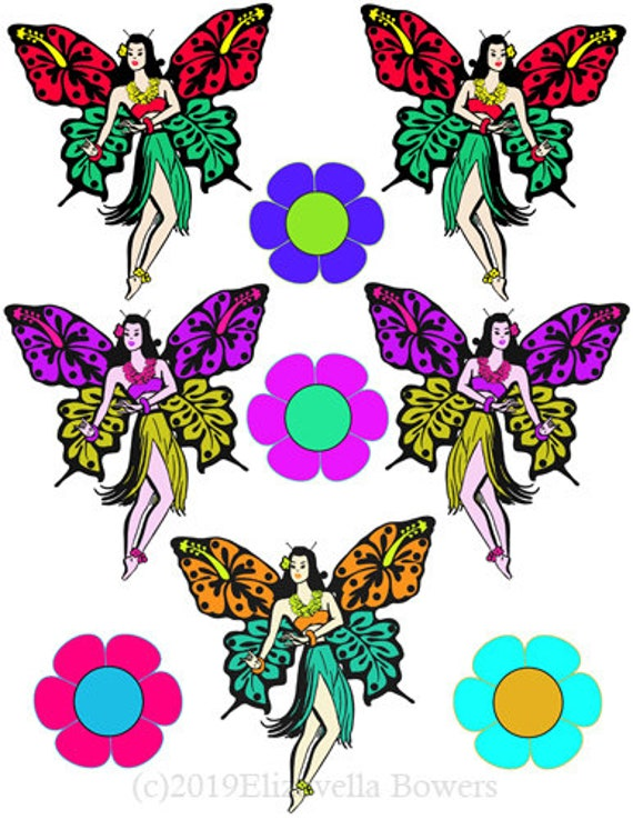 hawaiian hula girls butterfly fairies collage sheet printable clipart png download digital tattoo image graphics hawaii die cut downloadable