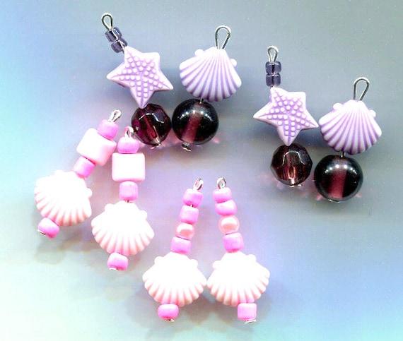 sea shell charms starfish charms lot bead drop pendants sea life jewelry purple pink glass plastic bead charms handmade jewelry making