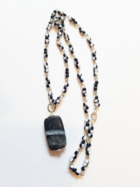 gray stone pendant necklace black and white glass beaded marble gemstone jewelry