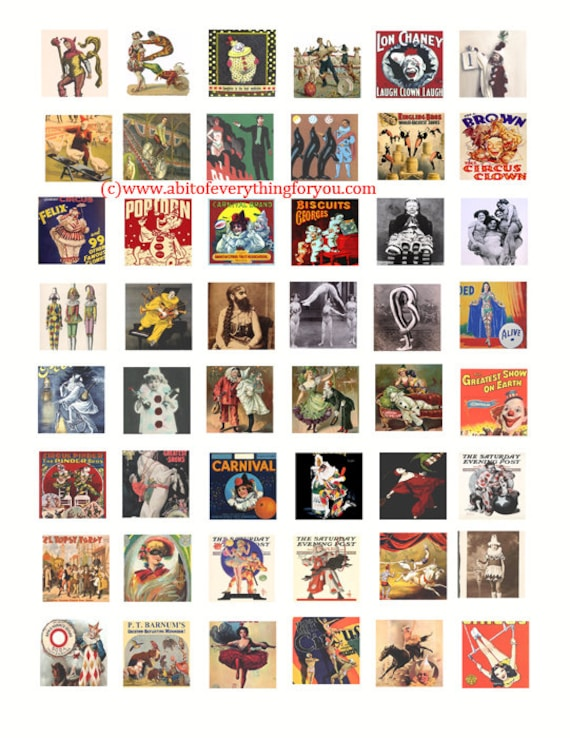 vintage circus posters clip art collage sheet digital download 1 inch squares graphics carnival images craft printables pendants