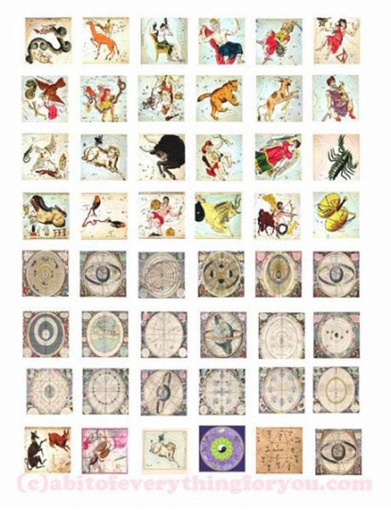 vintage printable zodiac signs symbols charts collage sheet astrology 1x1 inch squares digital downloadable printable images diy jewelry