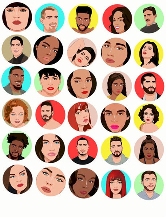 cartoon people faces black white latin men women collage sheet 1.5 inch circles clipart graphics images digital download craft printables