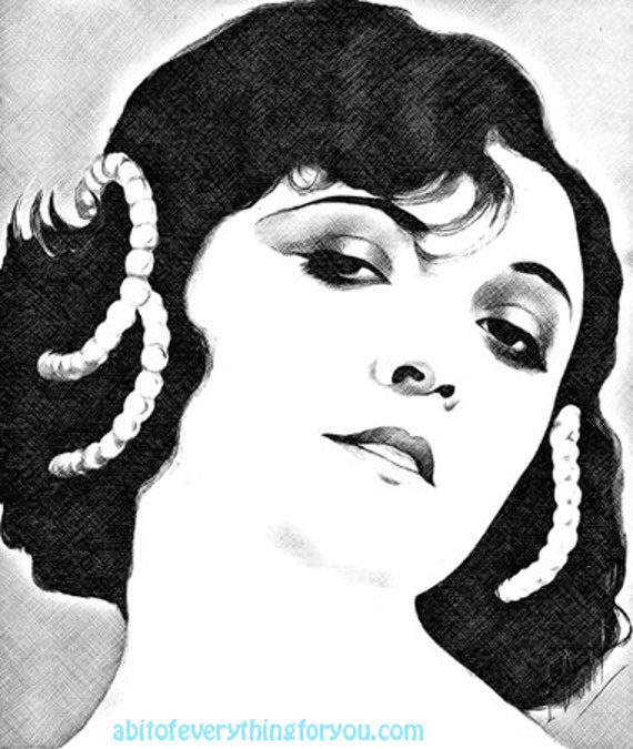 Gypsy bohemian Woman vintage printable pinup girl face art digital download image graphics downloadable portrait cross hatch drawing artwork
