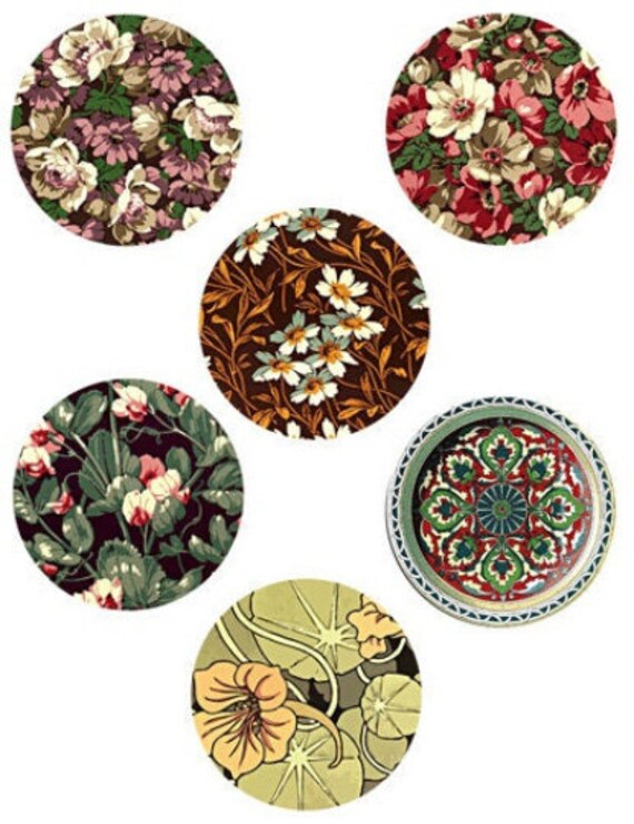 florals flowers textile patterns collage sheet printables 3 inch circles clip art digital download graphics abstract images diy crafts