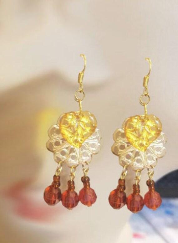 brown gold leaf bead drop chandelier earrings metal plastic glass beads jewelry