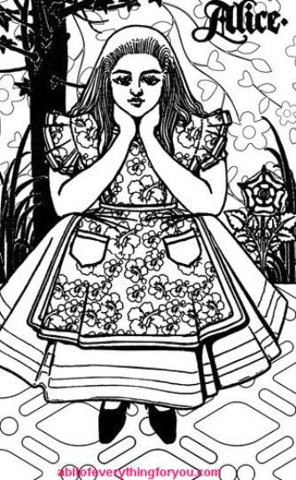 Alice In Wonderland Coloring Page Printable Vintage Art Digital Download Image Graphics Downloadable Black And White Artwork