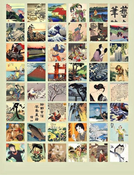 "vintage asian chinese japanese art women men landscapes clipart digital download collage sheet 1"" inch squares images printables"
