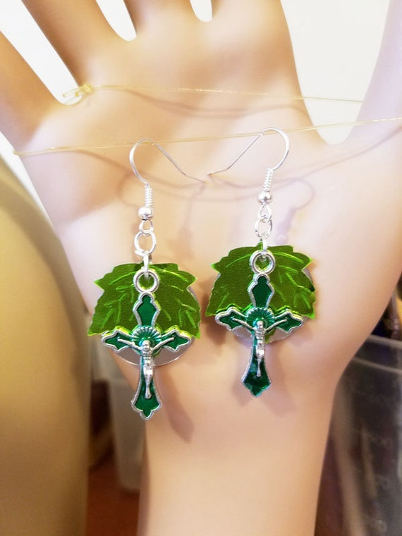 green cross leaf earrings silver sequin dangles crucifix religious handmade leaves jewelry
