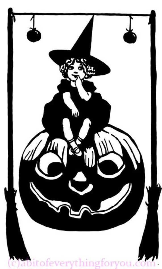 printable halloween little witch girl jacko lantern pumpkin art clipart png downloadable digital vintage image graphics diy crafts