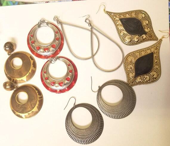 Vintage jewelry lot big metal earrings hoops teardrops 5 pr dangles red silver goldtone