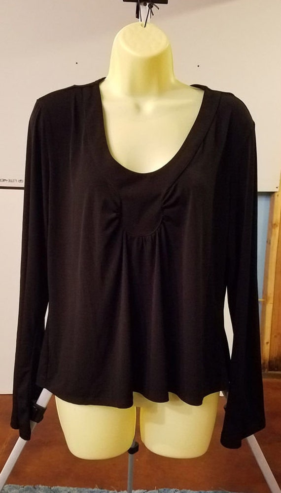 black blouse womens top size large long sleeve scoop neck ladies 90s clothing
