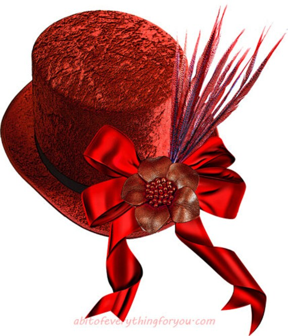 red straw hat feather flower bow fashion clipart png printable wall art download digital image downloadable graphics diy crafts