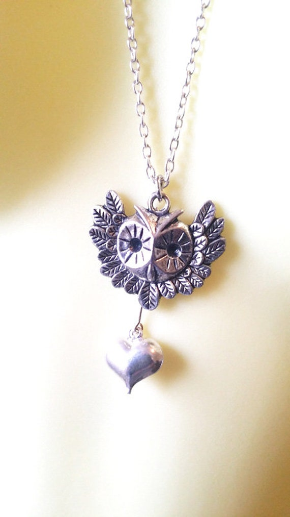 owl face heart necklace long metal silver chain handmade animal nature jewelry