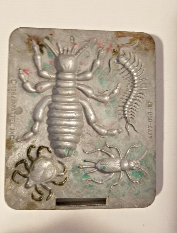 creepy crawler bugs insects mold metal beetles vintage toys mattel 1964
