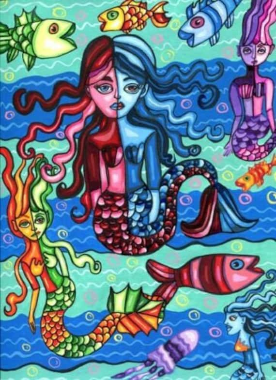 mermaids fish painting original abstract art nautical fantasy fairytale art acrylics modern contemporary artwork gifts home decor